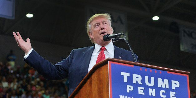 WILMINGTON, NC - AUGUST 9: Republican presidential candidate Donald Trump addresses the audience during...