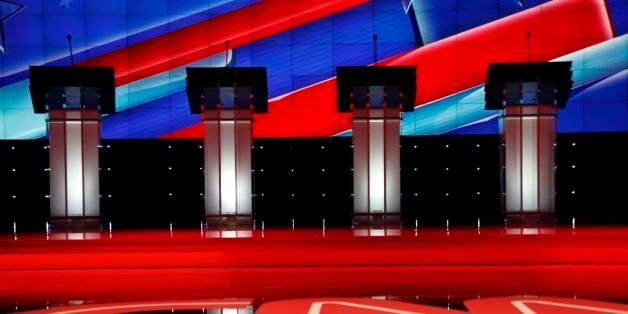 Las Vegas, NV, Dec 15, 2015, Empty Podiums At The Cnn Republican Presidential Debate At The Venetian Resort And Casino, Las V