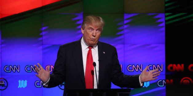 Republican U.S. presidential candidate Donald Trump speaks during the Republican candidates debate sponsored by CNN at the Un