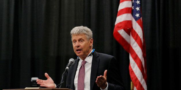 Libertarian Party presidential candidate Gary Johnson speaks during the Cannabis World Congress & Business Exposition in New