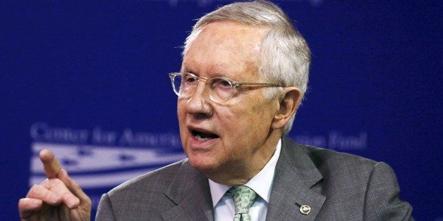 U.S. Senate Democratic Leader Harry Reid (D-NV) discusses the candidacy of Republican presidential candidate Donald Trump whi