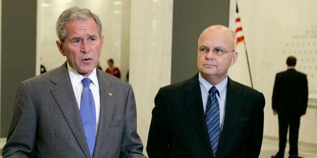 U.S. President George W. Bush (L) speaks next to Director of the CIA Gen. Michael Hayden at the CIA Headquarters in McLean, V