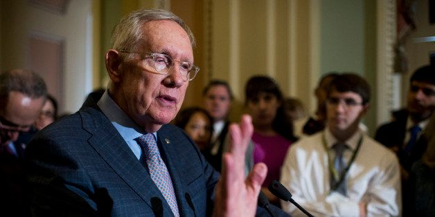 UNITED STATES - SEPTEMBER 20: Senate Minority Leader Harry Reid, D-Nev., speaks to the media in the Ohio Clock Corridor follo