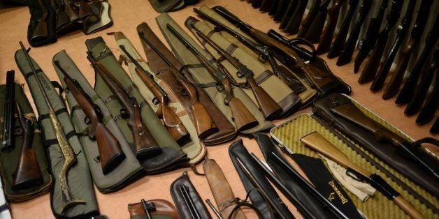 Weapons seized by French police are displayed at the police headquarters of Creteil on June 12, 2015 after a gun-trafficking