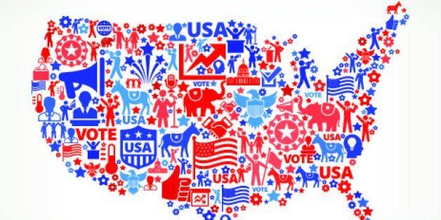 USA map Vote and Elections USA Patriotic Icon Pattern. This 100% vector composition features red and blue vote and elections