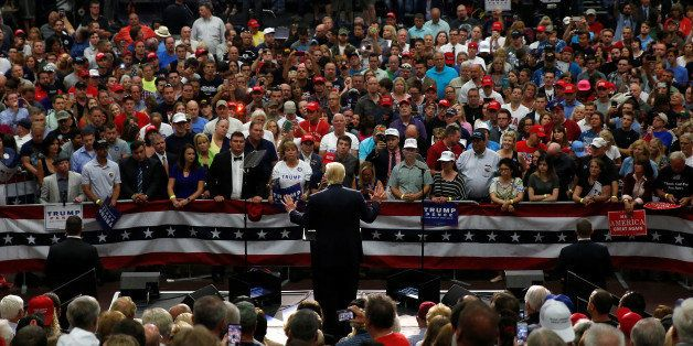 Republican presidential nominee Donald Trump speaks onstage during a campaign rally in Akron, Ohio, U.S., August 22, 2016. RE