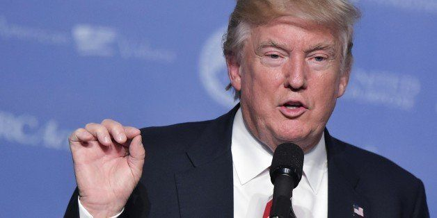 US Republican presidential nominee Donald Trump speaks during the 11th annual Values Voter Summit in Washington, DC, on Septe
