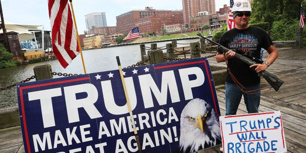 CLEVELAND, OH - JULY 18: A Donald Trump supporter attends a rally for Trump on the first day of the Republican National Conve