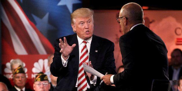 Republican presidential nominee Donald Trump speaks to Matt Lauer during the Commander in Chief Forum in Manhattan, New York,