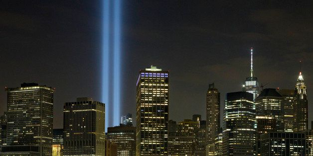 The Tribute in Light rises above the lower Manhattan skyline, Saturday, Sept. 10, 2016, in New York. Sunday marks the fifteen
