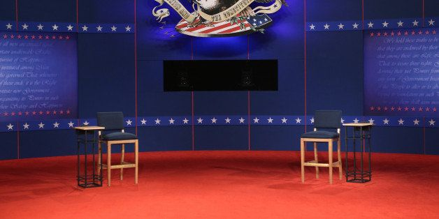 HEMPSTEAD, NY - OCTOBER 16:  The stage is set for Republican presidential candidate Mitt Romney and U.S. President Barack Oba