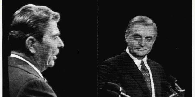 Debate Reagan Mondale. October 22, 1984. (Photo by Frank Leonardo/New York Post Archives / (c) NYP Holdings, Inc. via Getty I