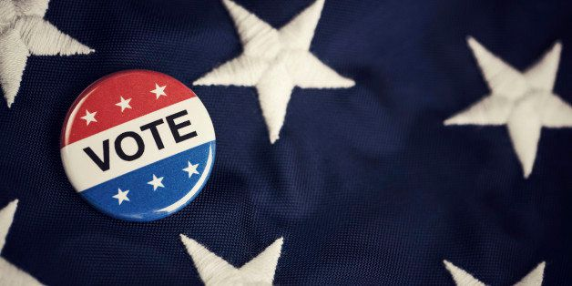 Vote button pin on flag