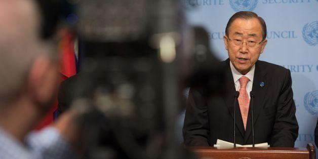 United Nations Secretary-General Ban Ki-moon speaks at the United Nations September 25, 2016 in New York.  Ban on Sunday urg