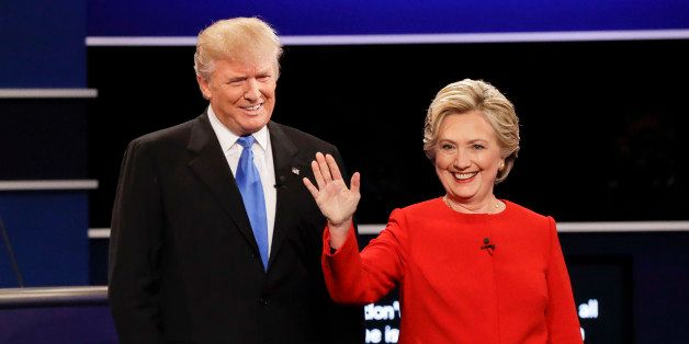 Republican presidential nominee Donald Trump and Democratic presidential nominee Hillary Clinton are introduced during the pr