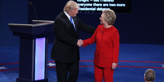 Donald Trump, 2016 Republican presidential nominee, shakes hands with Hillary Clinton, 2016 Democratic presidential nominee,