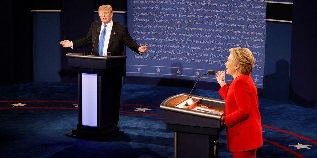 Republican U.S. presidential nominee Donald Trump and Democratic U.S. presidential nominee Hillary Clinton speak simultaneous