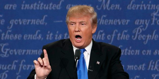 Republican U.S. presidential nominee Donald Trump speaks during the first debate with Democratic U.S. presidential nominee Hi