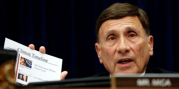 John Mica (R-FL) questions FBI Director James Comey (not pictured) with a Clinton timeline at a House Oversight and Governmen