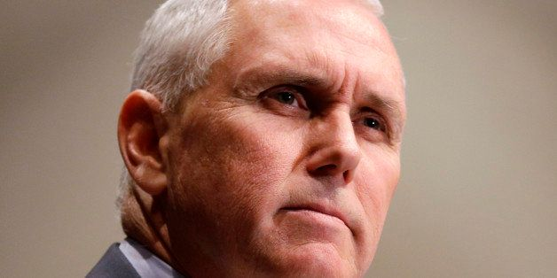 FILE - In this Jan. 27, 2015 file photo, Indiana Gov. Mike Pence pauses while speaking in Indianapolis. As they begin to shap