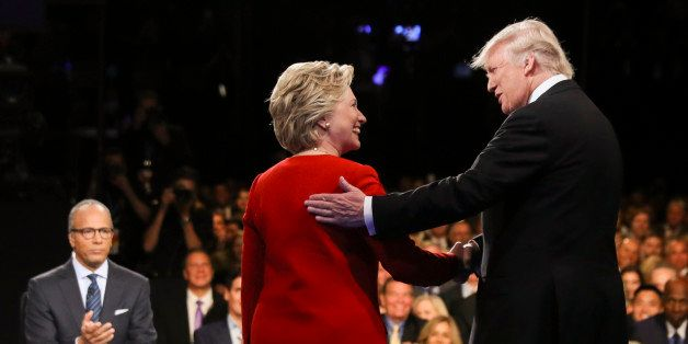 FILE - In this Sept. 26, 2016 file photo, Democratic presidential nominee Hillary Clinton and Republican presidential nominee