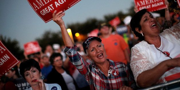 Supporters of Republican U.S. presidential nominee Donald Trump cheer at a campaign rally in Panama City, Florida, U.S., Octo