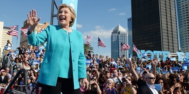 Democratic presidential nominee Hillary Clinton arrives at a rally at Curtis Hixon Waterfront Park in Tampa, Florida, October