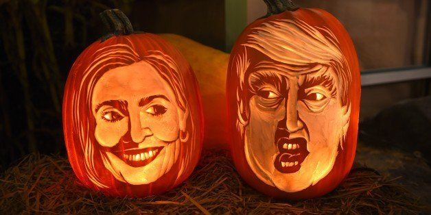 Styrofoam carvings on display while this year carving of 2016  Democratic nominee Hillary Clinton and Republican presidential