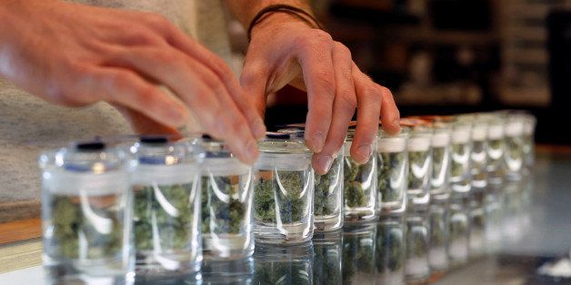 A variety of medicinal marijuana buds in jars are pictured at Los Angeles Patients & Caregivers Group dispensary in West Holl