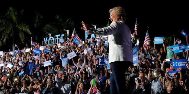 U.S. Democratic presidential nominee Hillary Clinton takes the stage at a campaign rally in Ft. Lauderdale, Florida, U.S. Nov