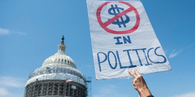 UNITED STATES - APRIL 11: Democracy Spring protesters calling for the end of big money in politics stage a sit-in on the Capi