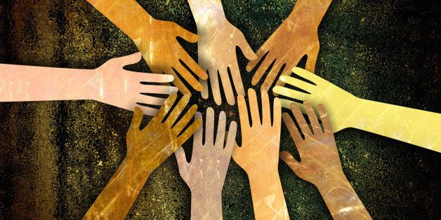 A grunge textured digital illustration of a group of diverse hands reaching together in unity and support.
