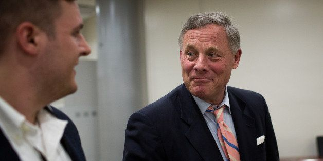 WASHINGTON, DC - MAY 9: At right, Sen. Richard Burr (R-NC) speaks with reporters after a vote at the U.S. Capitol, May 9, 201