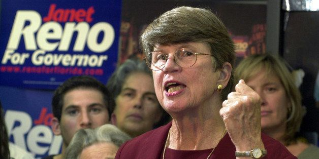 FILE - In this Tuesday, Sept. 17, 2002, file photo, Democratic gubernatorial candidate Janet Reno gestures during her concess