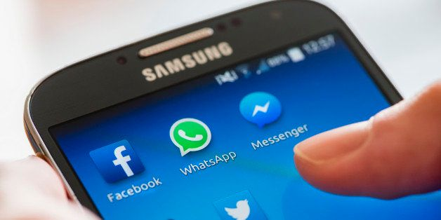 Icon of Facebook, WhatsApp and Messenger (Facebook's proprietary messaging app) alongside other social media apps on a Samsun