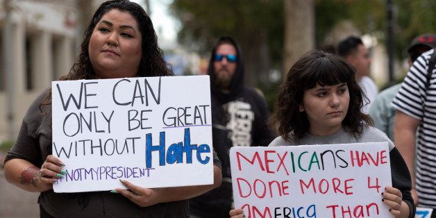 Demonstrators from the San Fernando Valley area gathered to protest President-elect Donald Trump in Los Angeles, California o