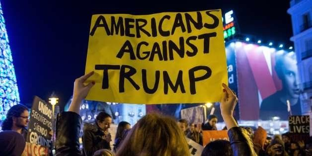 MADRID, SPAIN - 2016/12/02: American community in Madrid protesting against USA President-elect Donald Trump. (Photo by Marco