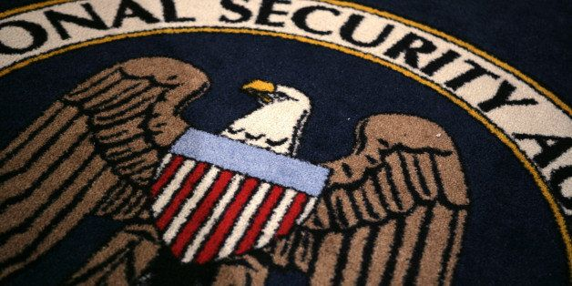 The logo of the U.S. National Security Agency is seen during a visit by U.S. President George W. Bush to the agency's install