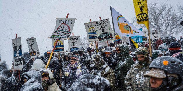 OCETI SAKOWIN CAMP, CANNONBALL, NORTHDAKOTA, UNITED STATES - 2016/12/05: Winter has arrived in Standing Rock at the Oceti Sak