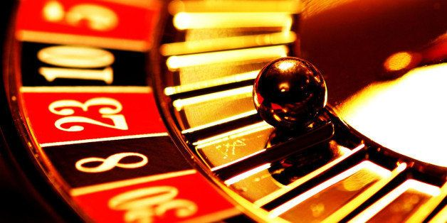 Close up of ball on roulette wheel.