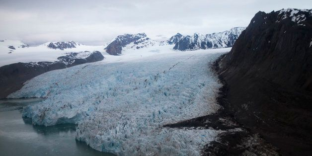 A view of the Blomstrand Glacier, on June 16, 2016, in Ny-Alesund, Norway. US Secretary of State John Kerry and Norwegian For