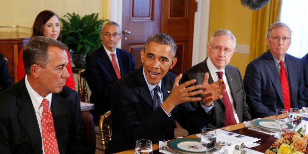 U.S. President Barack Obama (2nd L) hosts a luncheon for bi-partisan Congressional leaders in the Old Family Dining Room at t