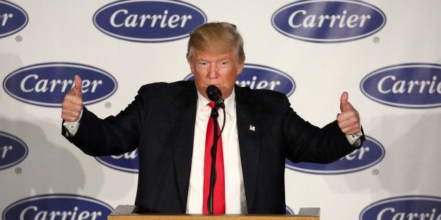 U.S. President-Elect Donald Trump speaks at an event at Carrier HVAC plant in Indianapolis, Indiana, U.S., December 1, 2016.