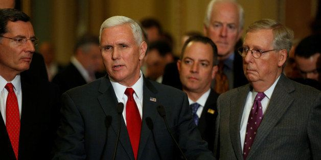 U.S. Vice President-elect Mike Pence (C) and Republican National Committee Chairman Reince Priebus (2nd R) join Senate Majori