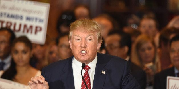 New York City - NY - USA - September 3 2015: Republican presidential candidate Donald Trump gestures emphatically during pres