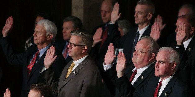 WASHINGTON, DC - JANUARY 03: House Republicans are sworn in, during a session in the House Chamber January 3, 2017 in Washing