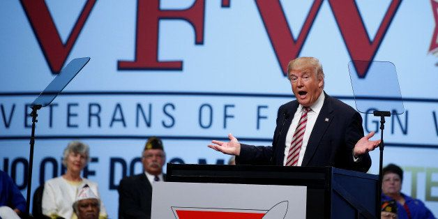 Donald Trump speaks to the Veterans of Foreign Wars conference at a campaign event in Charlotte, North Carolina, U.S. July 26