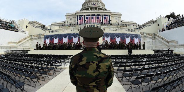 The United States Marine Corps Band practices in front of the podium where US President-elect Donald Trump will take the oath