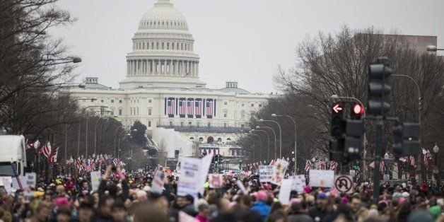WASHINGTON, USA - JANUARY 21: Protesters attend the Women's March to protest President Donald Trump in Washington, USA on Jan