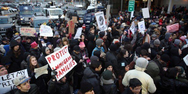 NEW YORK, UNITED STATES - JANUARY 28: Immigration activists stage a protest against President Donald Trump's 90-days ban of e